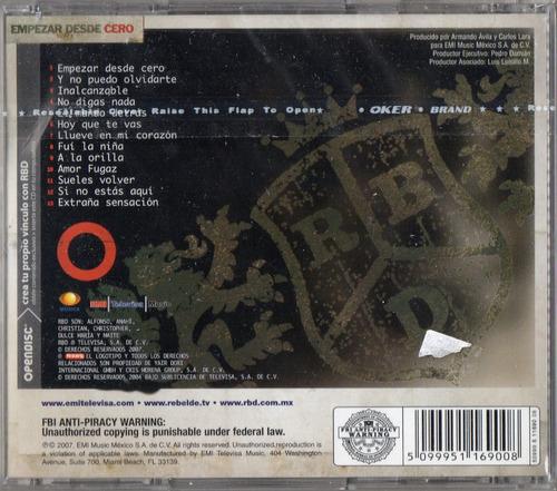 rbd empezar de cero cd 13 tracks méxico 2007  nuevo cerrado