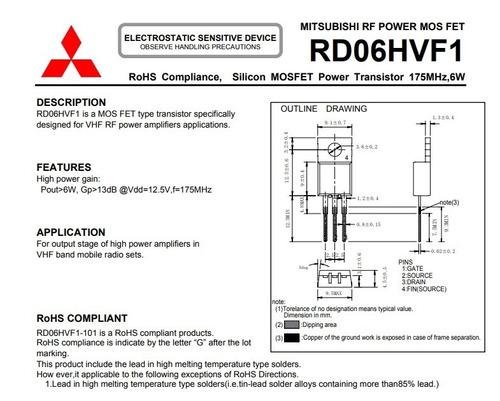 Rd06hvf1 Transistor Rf 6w 175mhz 12 5v 13db Mitsubishi
