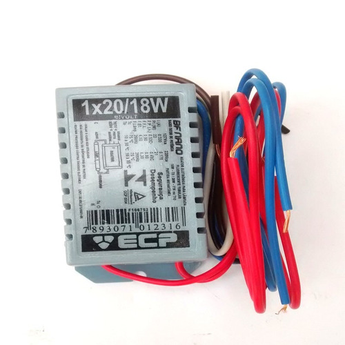 reator eletrônico tubular 1x20 18w bivolt - ecp