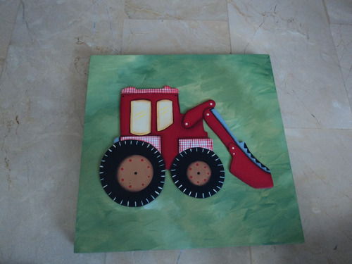 rebajas cuadro pintado a mano diseño de tractor.