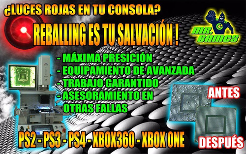 reballing luces rojas: xbox one;ps3;ps4; mister games