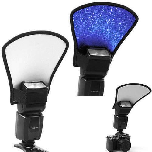rebatedor universal flash 2 cores branco e azul canon nikon