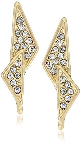 rebecca minkoff  caged stud  gold crystal pave pendientes do