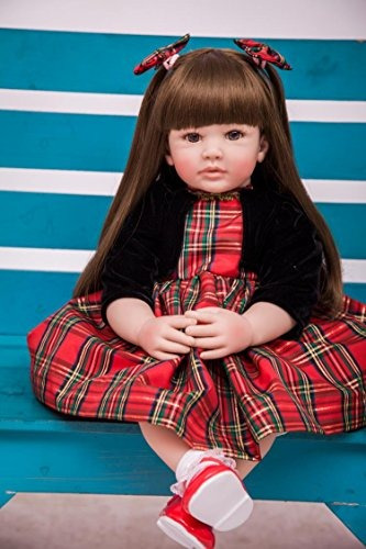 reborn cabello largo valentina, 60 cms vestido escoces