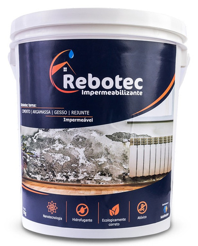 rebotec ® 5kg impermeabilizante p/ laje reboco piso ceramica