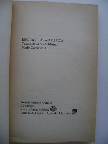 recados para américa / textos de gabriela mistral
