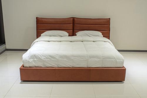 recamara cama ks de piel genuina 100% - conforto
