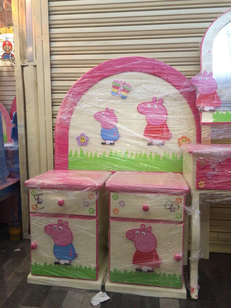 Recamara De Peppa Pig Cabecera 2 Buros Tocador Espejo Banco  # Muebles De Peppa Pig