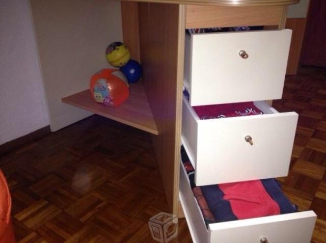 Rec mara doble con escritorio librero juguetero y for Recamaras con escritorio