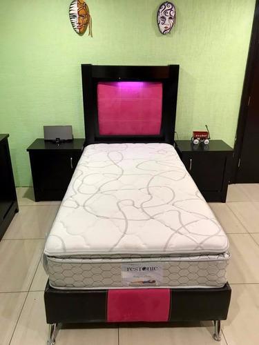 recamara individual tocador buros cabecera base y colchón