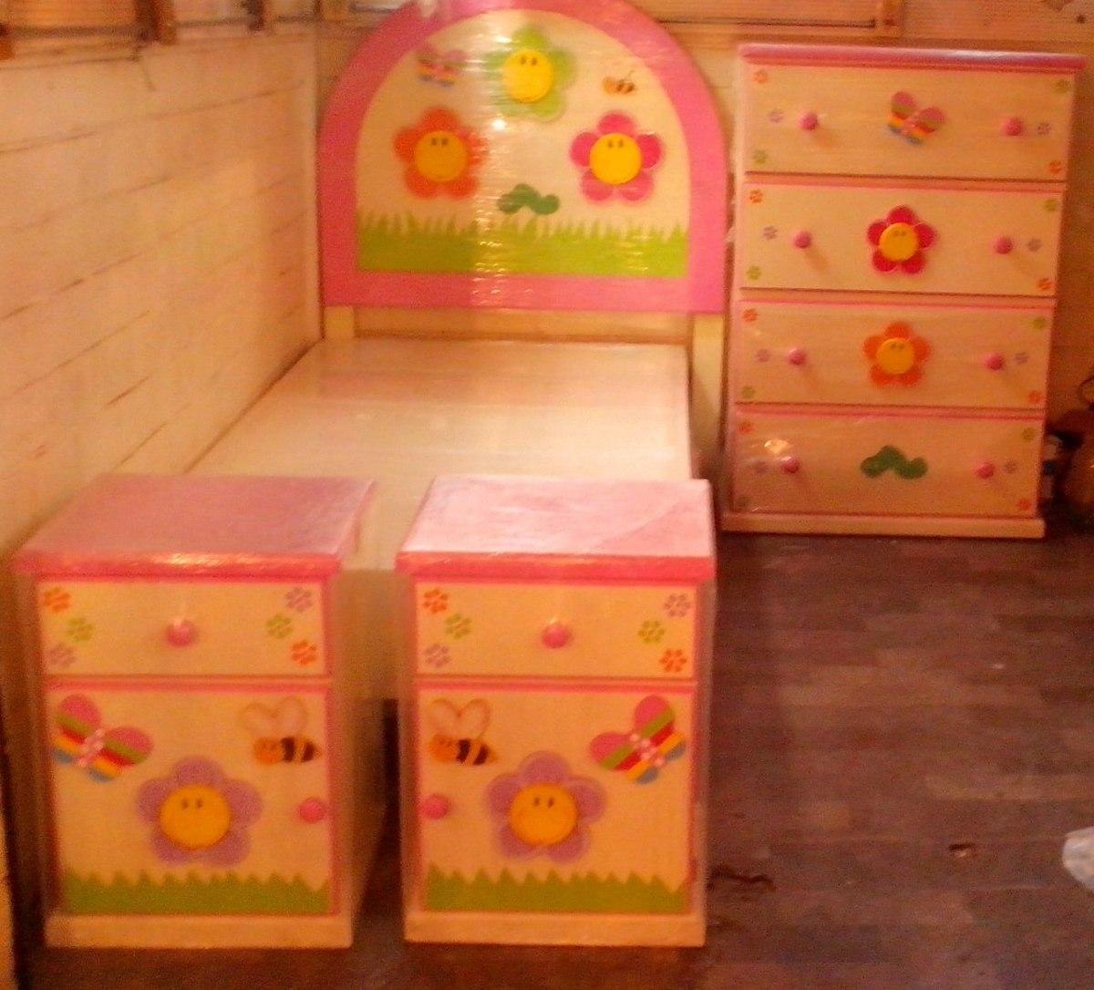 Recamara infantil 5 piezas cabecera 2 buros base y caj for Cabecera individual infantil