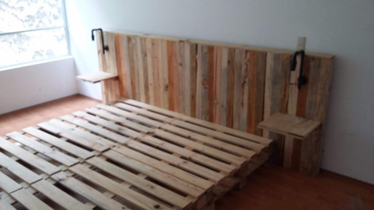 Recamara king size madera maciza tipo pallet tarima for Base de cama hecha con tarimas