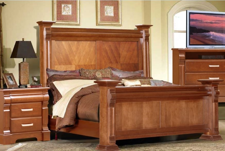 Rec mara king size nueva 100 madera mueblesselectos for Recamaras individuales de madera