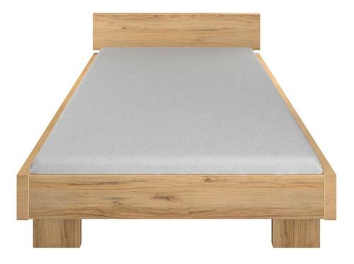 recámara matrimonial base para cama con cabecera de madera