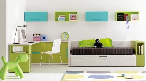 recamara minimalista con cama individual canguro y repisas