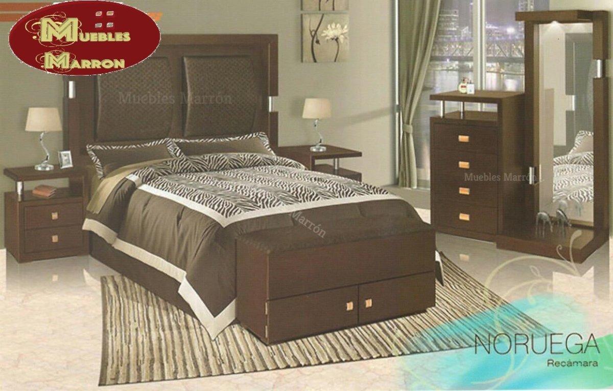 Recámara Noruega Color Chocolate Mdf Nueva Muebles Marrón ...