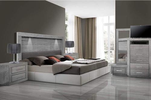recamara pamela 5 piezas - gris këssa muebles