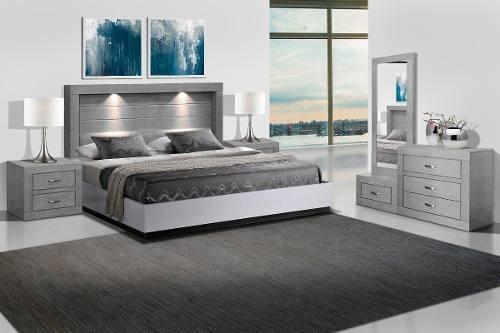 recamara valentina 5 piezas - gris këssa muebles