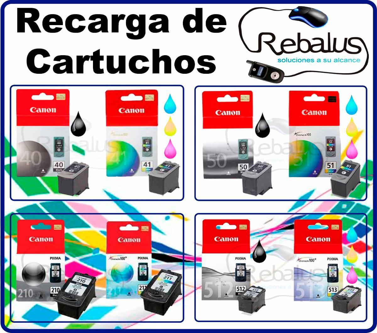 Recarga Cartucho Canon Negro Pg 40 50 210 Color Cl 41 51 211
