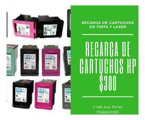 recarga cartucho hp 21 27 56 60 63 74 96 122 662 664