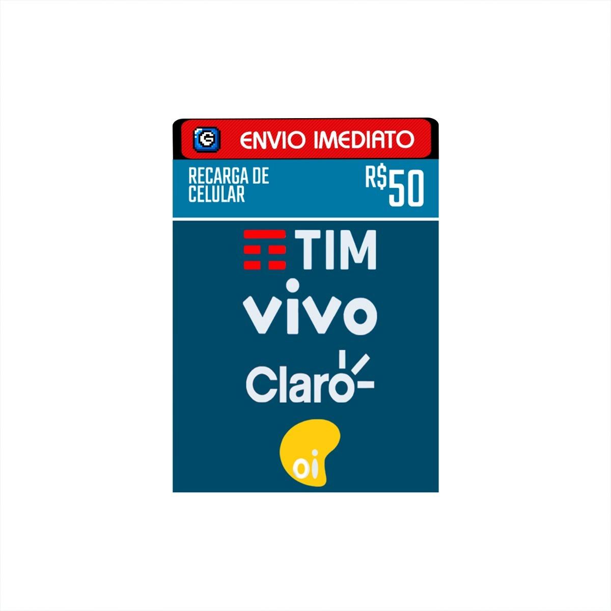 332578e2da2 Recarga Celular Crédito Online Tim Claro Vivo Oi R$ 50,00 - R$ 60,49 ...
