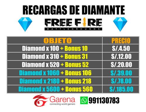 recarga de diamantes free fire en 5 min