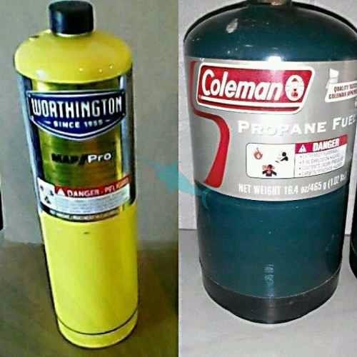 recarga de gas propano bombonas amarillas y verdes