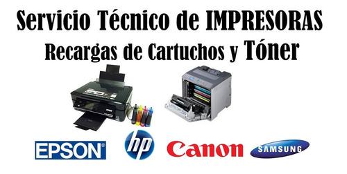recarga de toner, reparación y mantenimiento de impresoras.