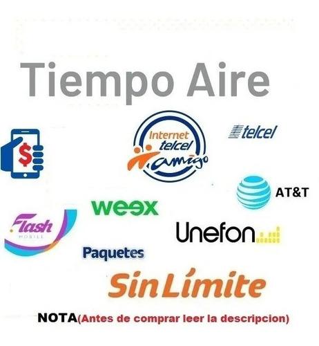 recarga electronica movistar, telcel, att, virgin, weex,$300