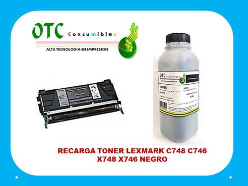 recarga toner lexmark c748 c746 x748 x746 negro