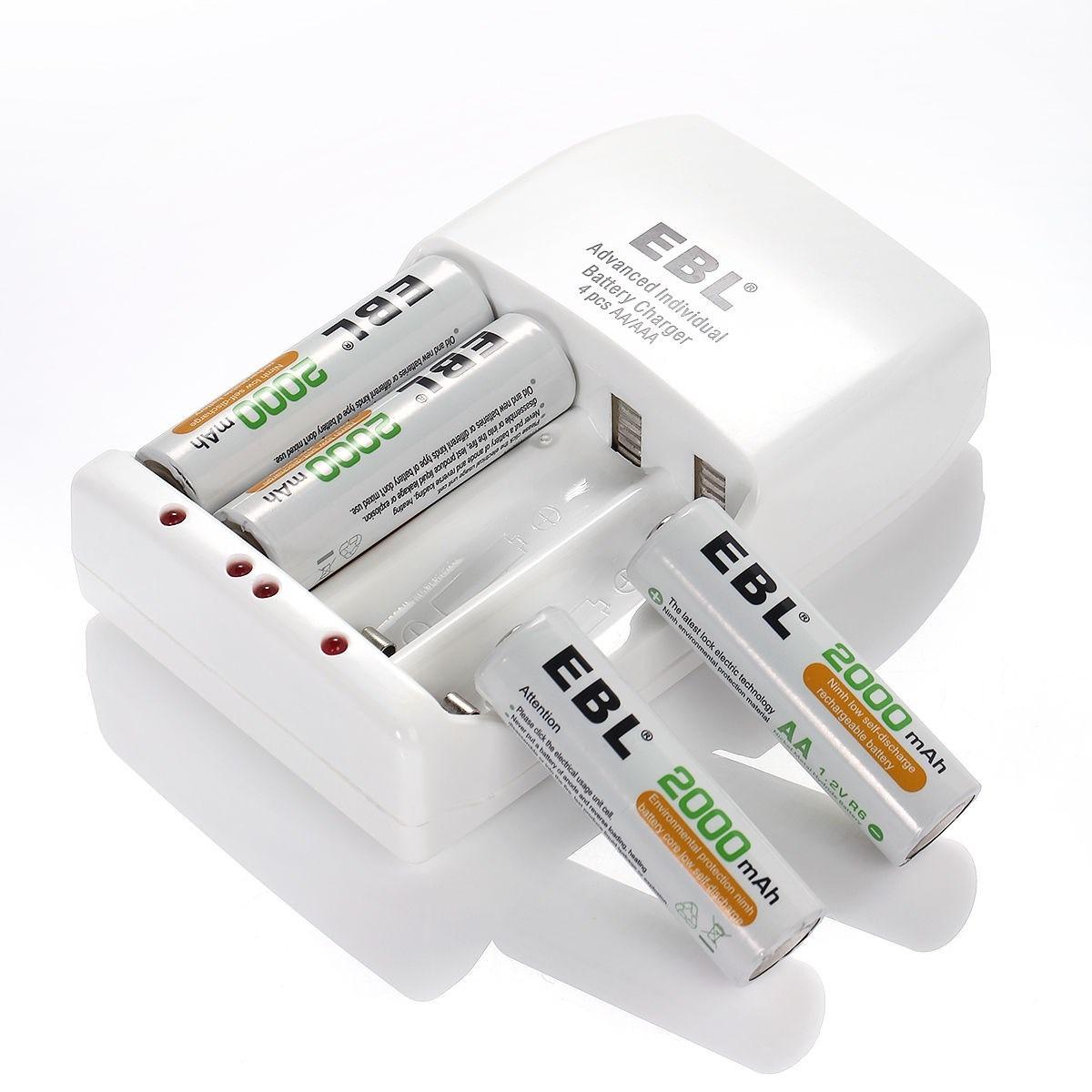 4 pilas baterias recargables aa 2000mah cargador ebl - Cargador pilas recargables ...
