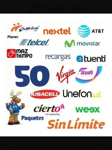 recargas movistar telcel , unefon o atyt , de $100 a $115