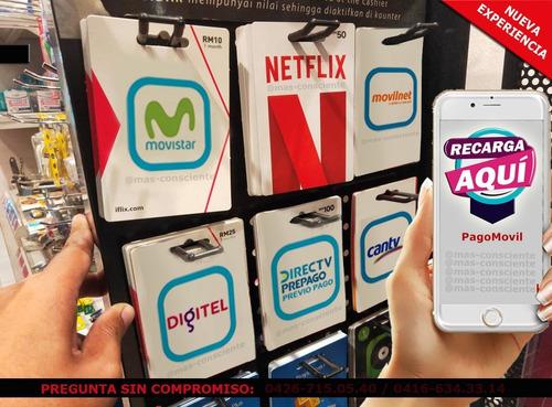 recargas telefónicas saldo internet tv  netflix  peliculas