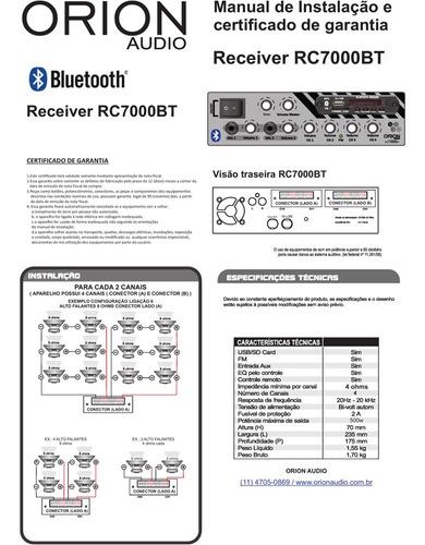 receiver amplificador 500w som ambiente rc7000bt 4 canal