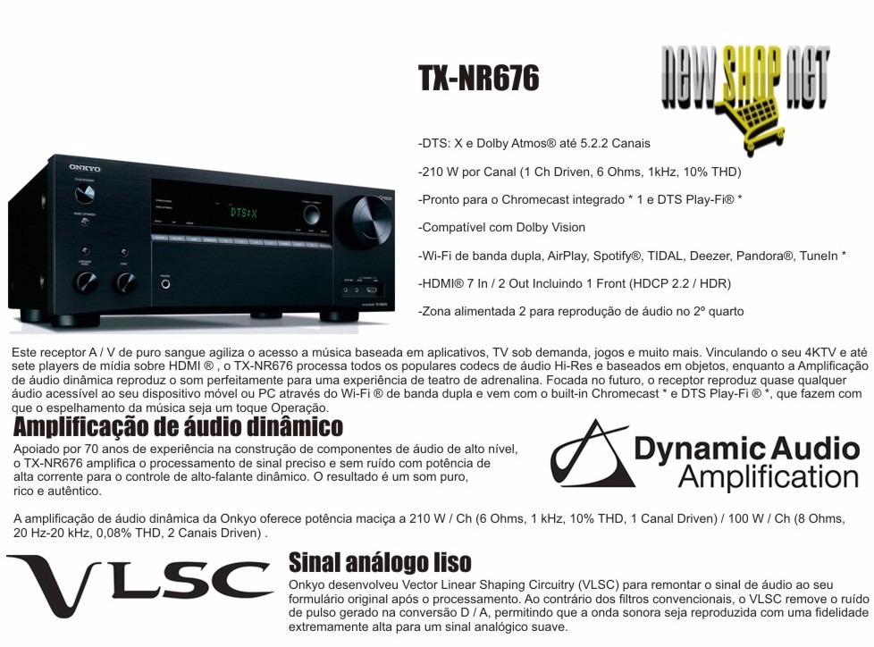 Receiver Onkyo Tx-nr676 7 2ch 4k Hdr10 Dolby Vision Dts-x