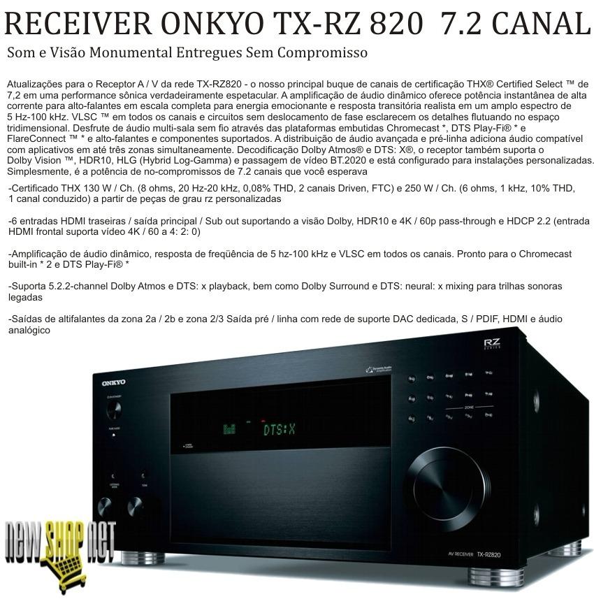 Receiver Onkyo Tx-rz 820 7 2 4k Hdmi Wifi Bluetooth Hdr 250w