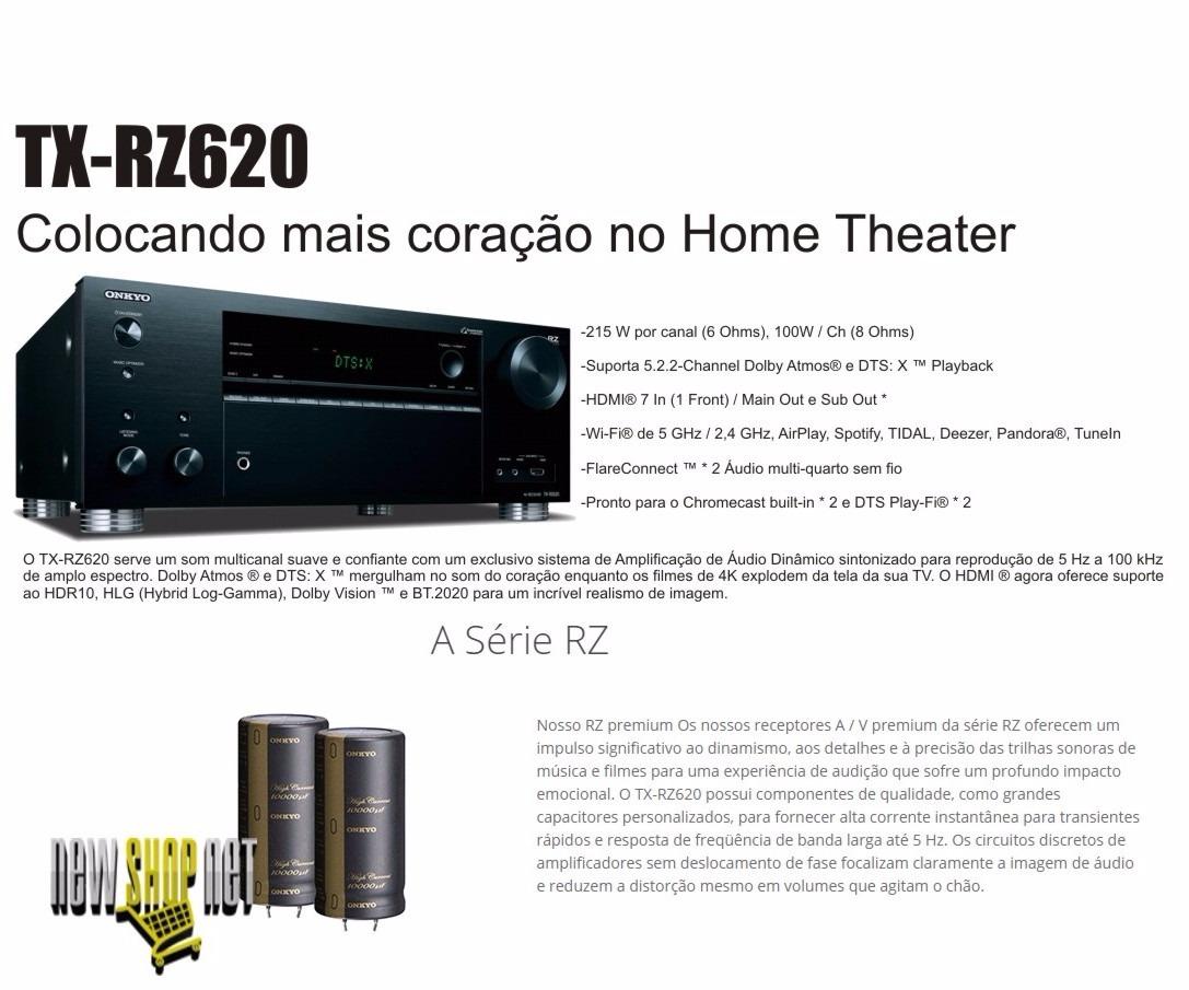 Receiver Onkyo Tx-rz620 7 2ch 215w/ch Hdr10 4k Dts-x Hdmi