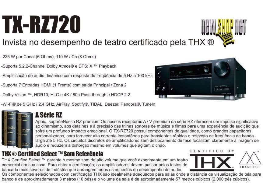 Receiver Onkyo Tx-rz720 7 2ch 225w/ch Dolby Vision Hdr10 4k