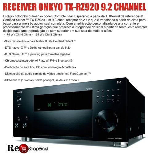 Receiver Onkyo Tx-rz920 9 2 Hdr10 Bluetooth Wifi 4k Airplay
