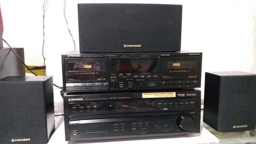 receiver pioneer e deck duplo c/ caixas pioneer e subwoofer.