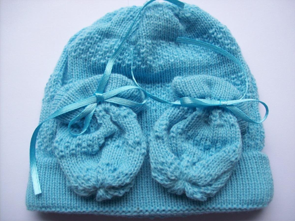 Recém Nascido 2 Touca Gorro C luvas Em Lã Anti-alérgica - R  79 34c9bf9fef9