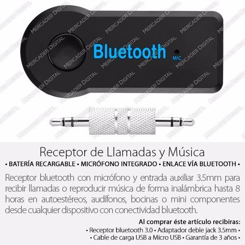 receptor bluetooth conexión auxiliar 3.5 música manos libres
