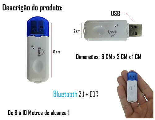 receptor bluetooth usb adaptador musica carro