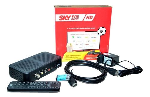 receptor digital sky pré-pago hd + habilitação + globo e sbt