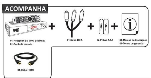 receptor parabolica canais digital hd bs9100 via satélite c