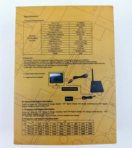 receptor rc832 5.8ghz 600mw 32ch 100% original video drone