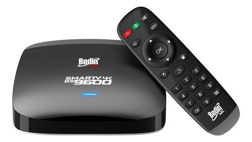 receptor - tv smart box android 6.0 preto 4k bs9600 bedinsat