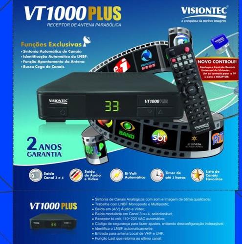 receptor vt1000 plus analógico entrada uhf visiontec