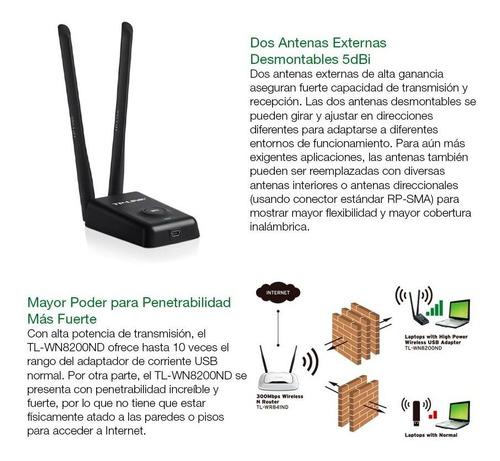receptor wifi usb tp-link 8200 300mbps atraviesa paredes loi