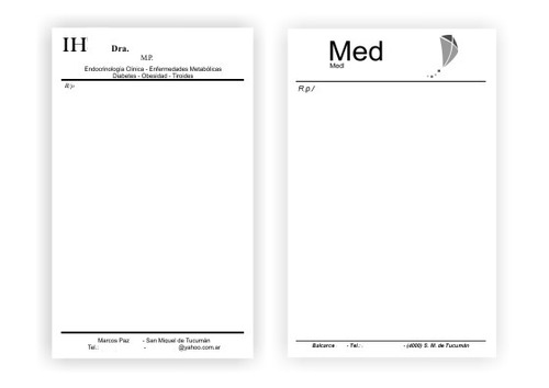 recetarios médicos 11x17cm negro  x 5000u - tucumán